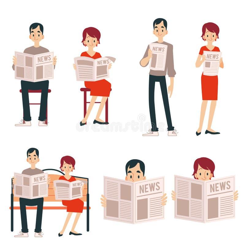 Um grupo de pares adultos, de um homem e de uma mulher leu um jornal, notícia, estando e sentando-se ilustração do vetor
