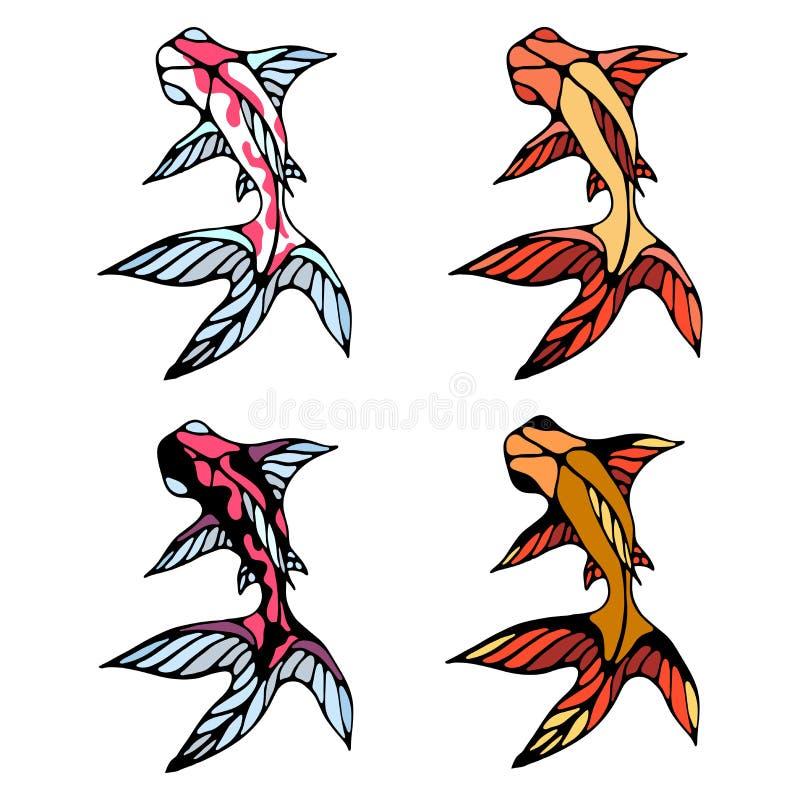 Um grupo de peixes brilhantes com grandes aletas Imagem da cor do vetor ilustração royalty free