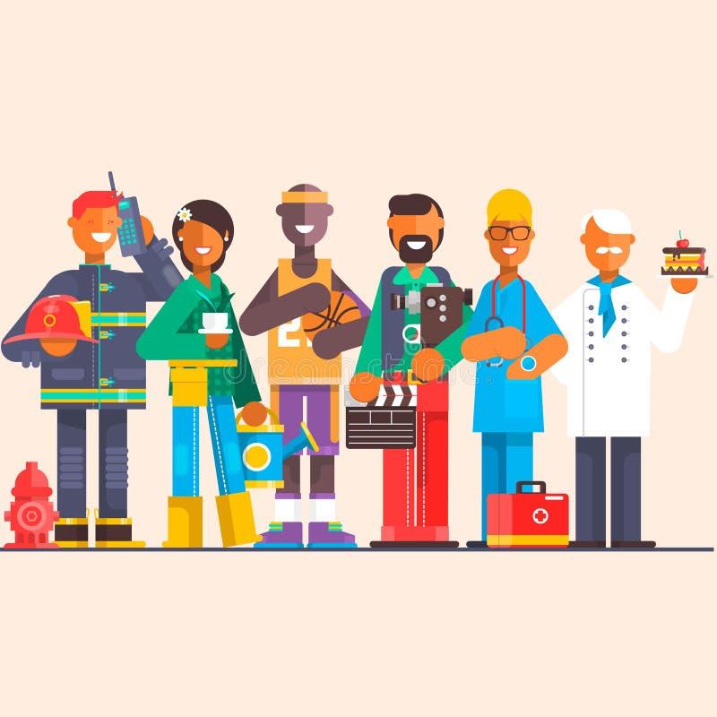 Um grupo de pessoas de profissões diferentes em um fundo isolado Dia do Trabalhador Ilustração lisa do vetor ilustração stock