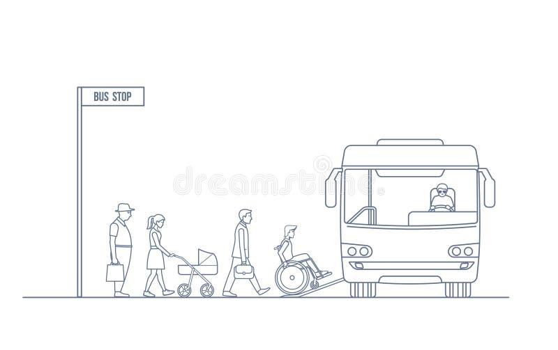 Um grupo de pessoas entra no ônibus da cidade ilustração stock