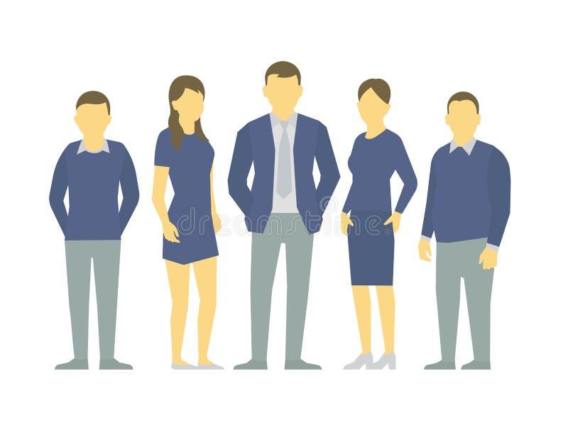 Um grupo de pessoas, equipe dos trabalhadores dos homens de negócios teamwork Liderança da parceria do trabalho Homens e mulheres ilustração royalty free