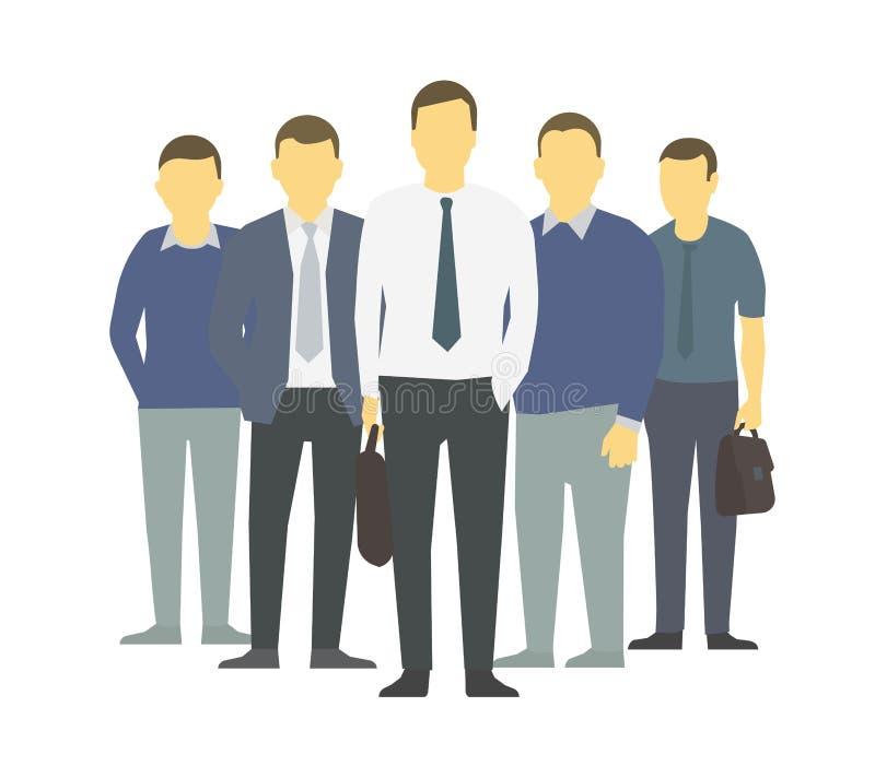 Um grupo de pessoas, equipe dos trabalhadores dos homens de negócios teamwork Liderança da parceria do trabalho Equipe dos homens ilustração stock