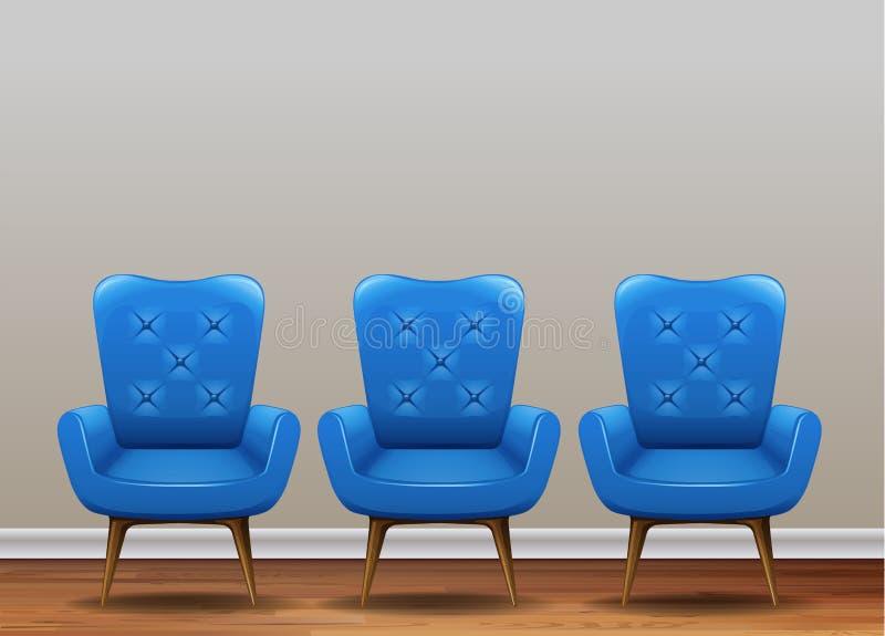 Um grupo de poltrona azul clássica ilustração royalty free