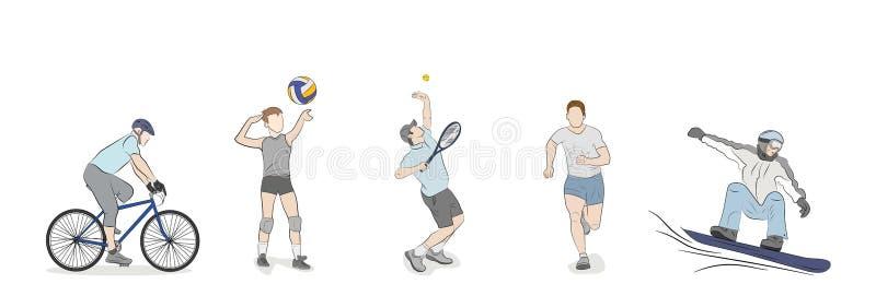 Um grupo de povos é contratado em tipos diferentes dos esportes ilustração royalty free