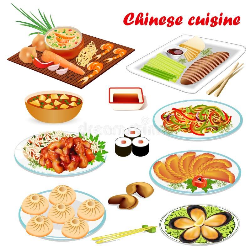 um grupo de pratos chineses com o pato da sopa, do estilo de Peking, camarão, cookies da previsão, carne no molho do agridoce e ilustração stock