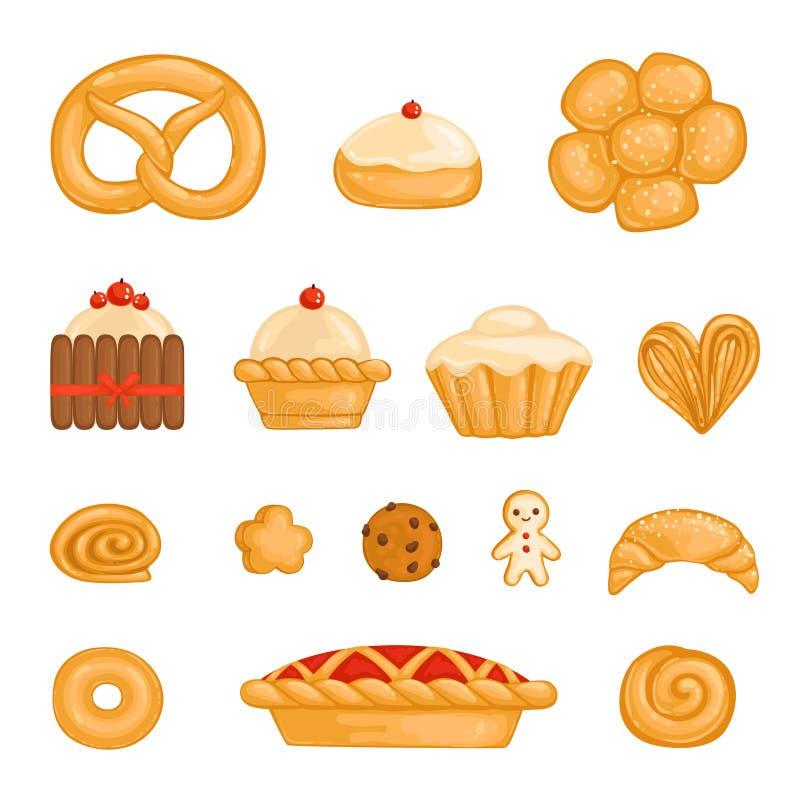 Um grupo de produtos de forno bagel, pão, bolo, queque, rolo, biscoito, homem de pão-de-espécie, kurasan, filhós, torta, bolo de  ilustração royalty free