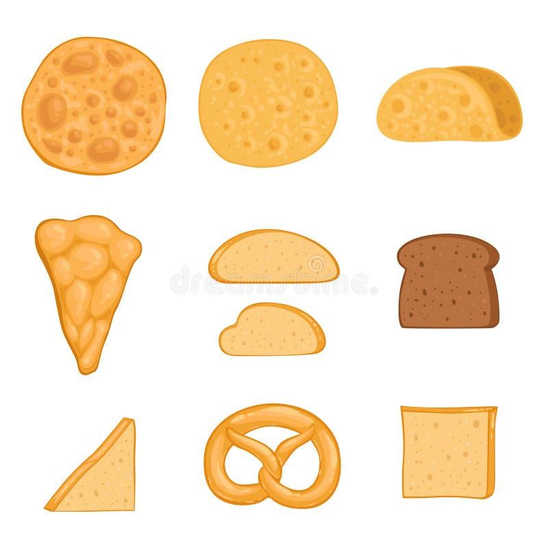 Um grupo de produtos de forno paella, burrito, bagel, pizza, tortilha, brinde, pão de centeio Ilustração do vetor ilustração do vetor