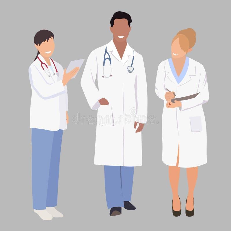 Um grupo de profissionais médicos Membros da ilustração três do vetor uma equipe doutores da equipe ilustração do vetor