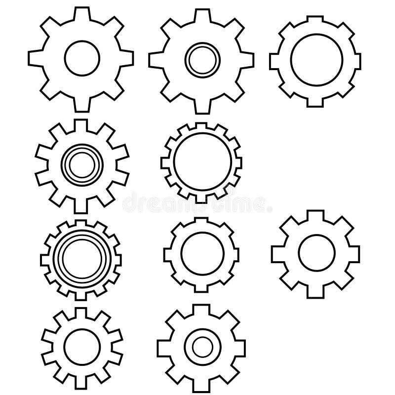 Um grupo de 10 projetos do ícone da roda denteada esboçou quadros ilustração royalty free