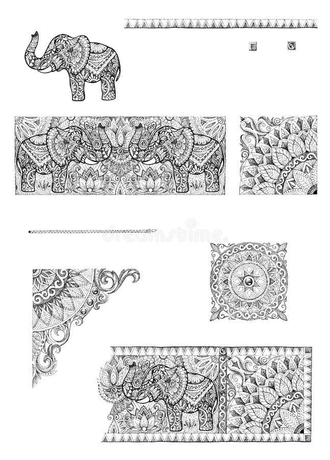 Um grupo de quadros e de elementos decorativos do projeto para cartões, weddin ilustração royalty free