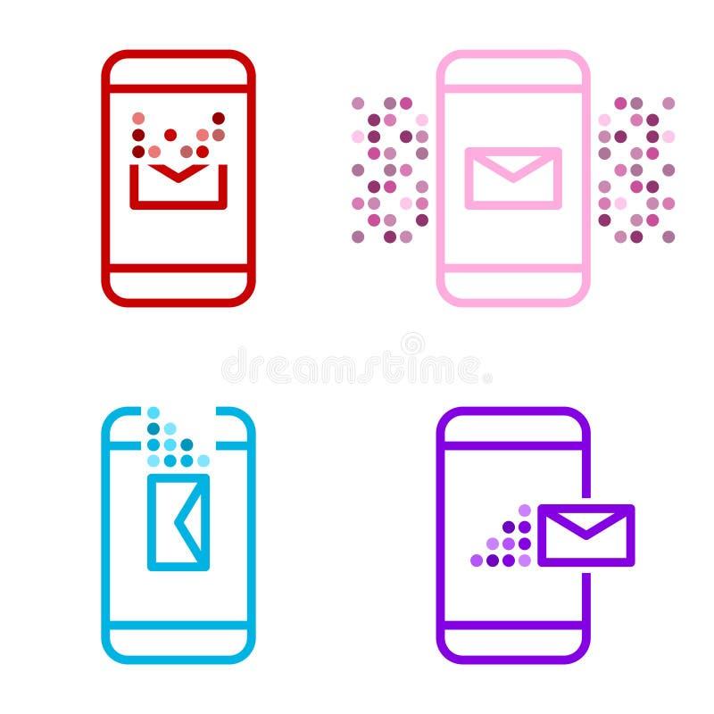 Um grupo de quatro ícones multi-coloridos da mensagem em um dispositivo móvel Receba, envie, suprima e alerte Vetor no branco ilustração stock