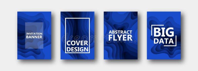 Um grupo de quatro opções para bandeiras, insetos, folhetos, cartões, cartazes para seu projeto, em cores azuis ilustração stock