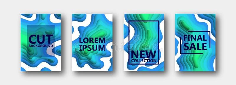Um grupo de quatro opções para bandeiras, insetos, folhetos, cartões, cartazes para seu projeto, em tons azul esverdeado ilustração royalty free