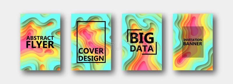 Um grupo de quatro opções para bandeiras, insetos, folhetos, cartões, cartazes para seu projeto, em tons coloridos ilustração do vetor