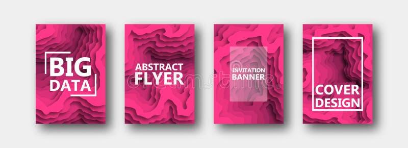 Um grupo de quatro opções para bandeiras, insetos, folhetos, cartões, cartazes para seu projeto, na cor cor-de-rosa ilustração do vetor