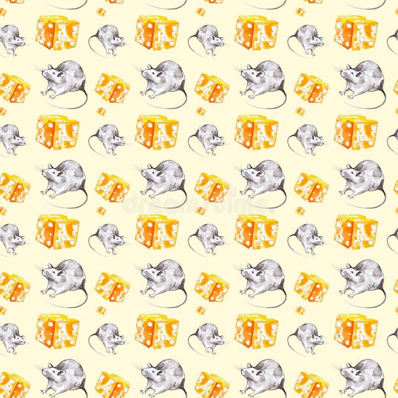 Um grupo de rato cinzento e uma parte de queijo amarelo S?mbolo de 2020 anos novos Ilustra??o da aquarela isolada no fundo amarel fotos de stock