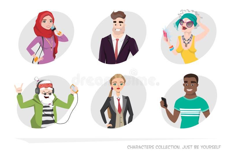 Um grupo de retratos no estilo dos desenhos animados ilustração stock