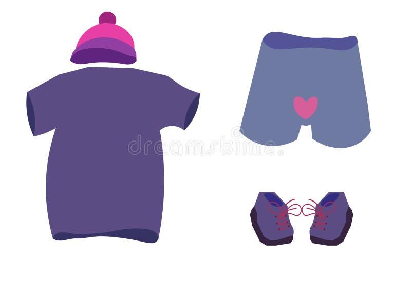 Um grupo de roupa consiste em um t-shirt, em um chapéu e em um roupa interior com um coração ilustração do vetor