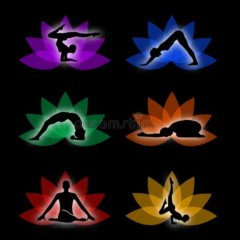 Um grupo de símbolos da ioga e da meditação ilustração stock