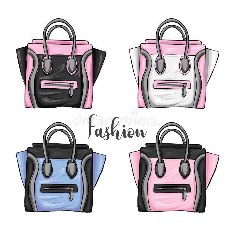 Um grupo de sacos de compras multi-coloridos Vector a ilustração para um cartão ou um cartaz, cópia para a roupa Forma com estilo ilustração royalty free