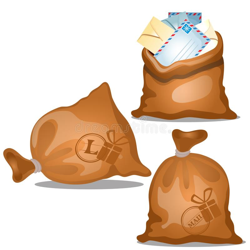 Um grupo de sacos da lona das letras e dos pacotes nos envelopes isolados no fundo branco Close-up dos desenhos animados do vetor ilustração royalty free