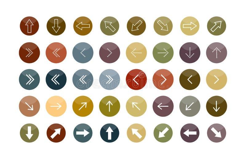 Um grupo de setas de configurações diferentes em círculos coloridos ilustração do vetor