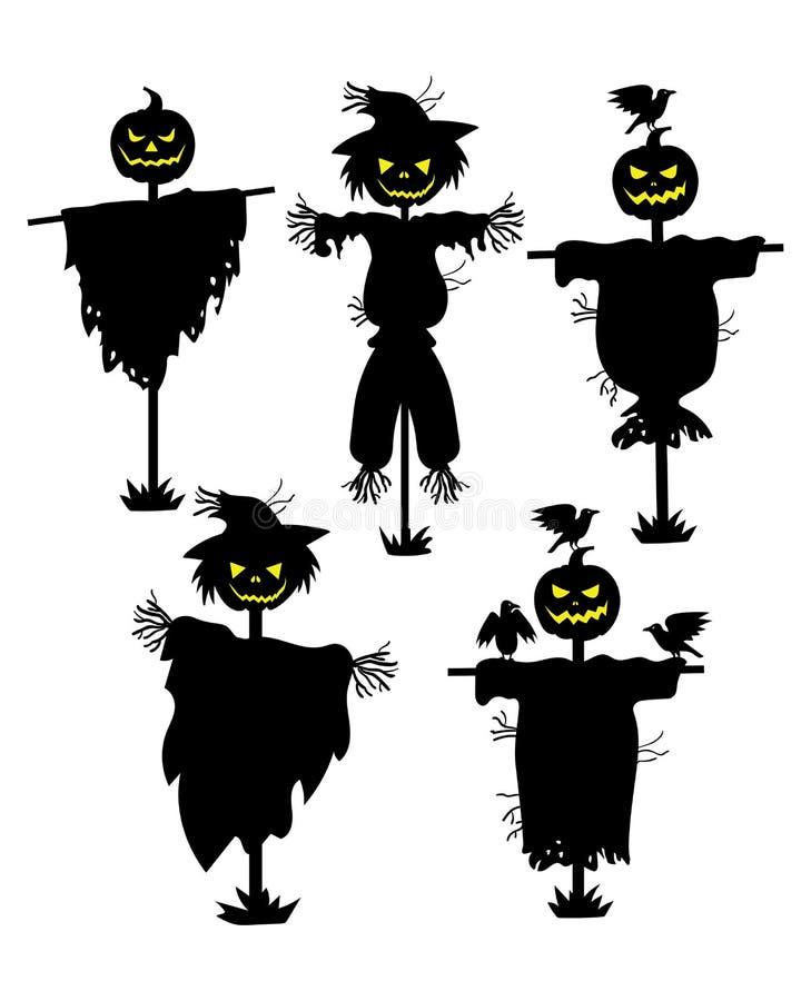 Um grupo de silhuetas dos espantalhos Coleção das silhuetas pretas enchidas com cabeça da abóbora Ajuste para Dia das Bruxas myst ilustração stock