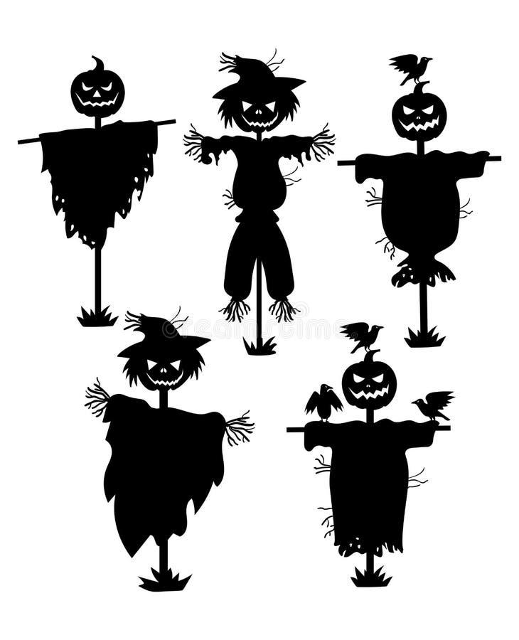 Um grupo de silhuetas dos espantalhos Coleção das silhuetas pretas enchidas com cabeça da abóbora Ajuste para Dia das Bruxas myst ilustração do vetor