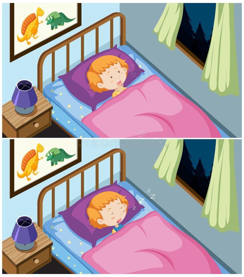 Um grupo de sono da menina ilustração do vetor