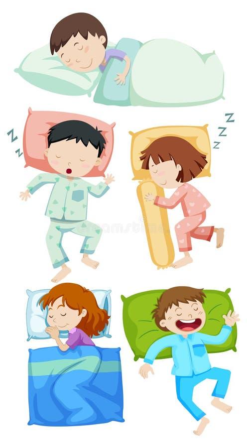 Um grupo de sono das crianças ilustração royalty free