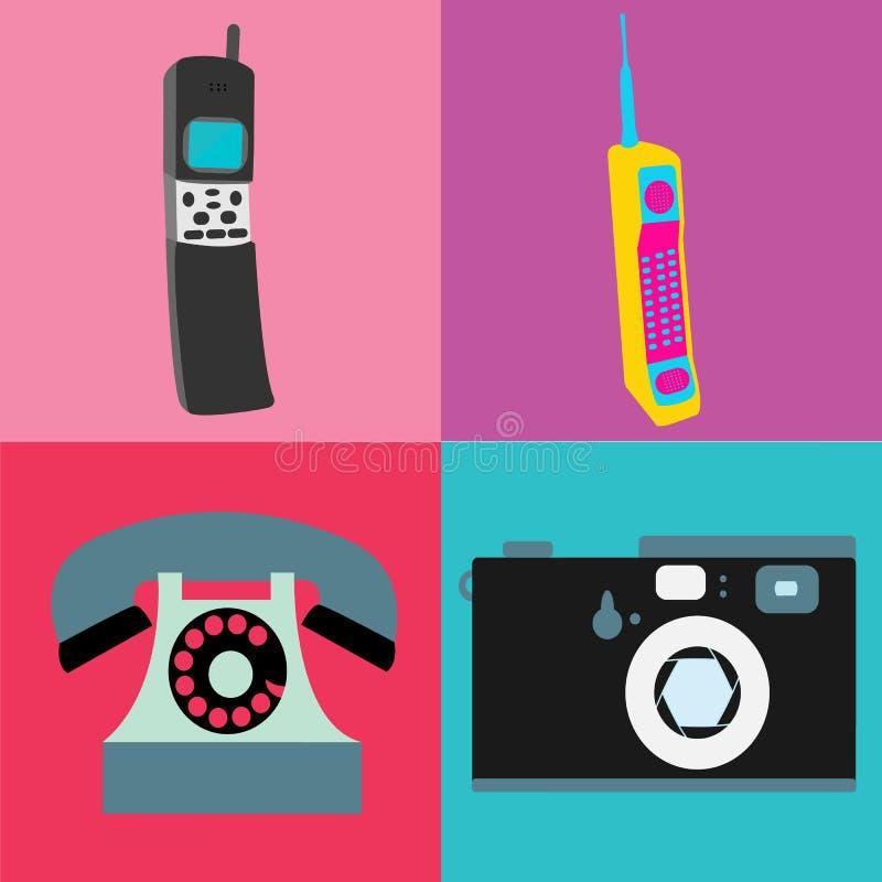 Um grupo de tecnologia análoga do moderno retro idoso da antiguidade do vintage, eletrônica para uma comunicação, os primeiros te ilustração stock
