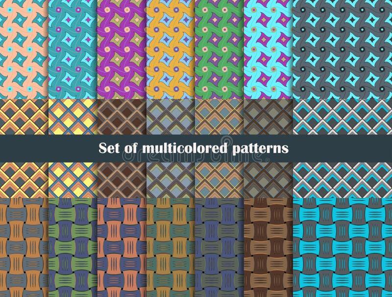 Um grupo de testes padrões geométricos em cores diferentes ilustração stock