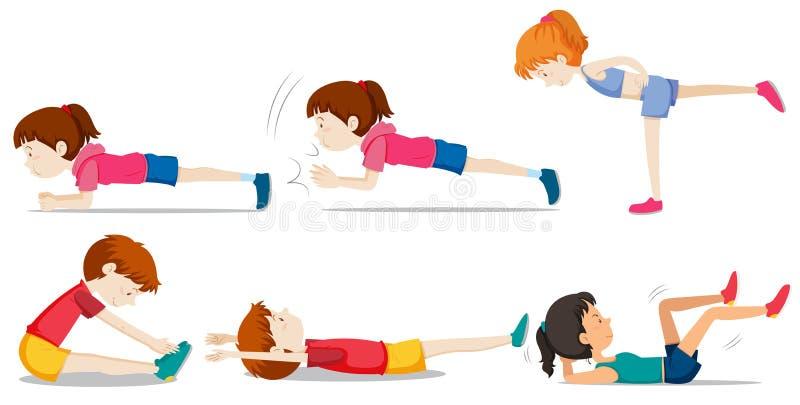 Um grupo de treinamento do peso ilustração stock