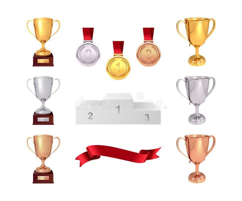 Um grupo de troféus do vencedor Copos dourados, de prata e de bronze, medalha de ouro, fita e pjadestal vermelhos Isolado no back ilustração royalty free