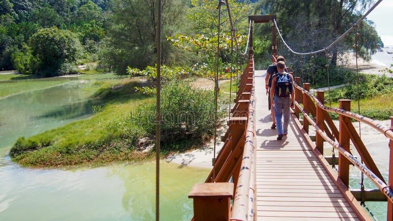 Um grupo de turistas com trouxas vai em uma ponte de suspensão imagem de stock
