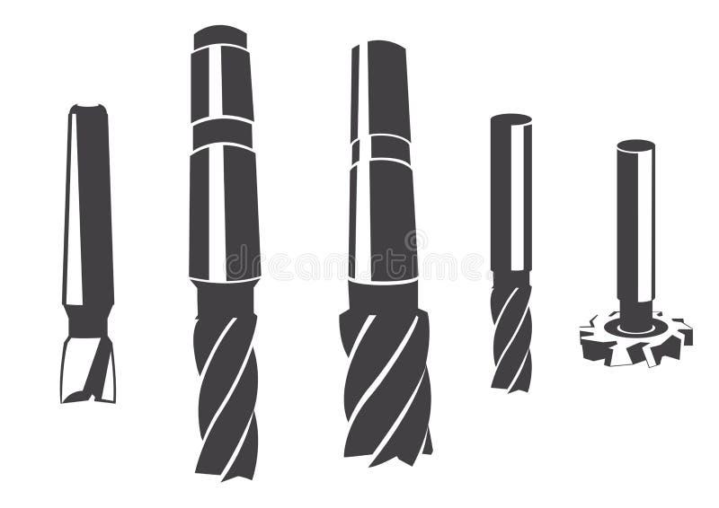 Um grupo de vário cortador de trituração cilíndrico ilustração do vetor