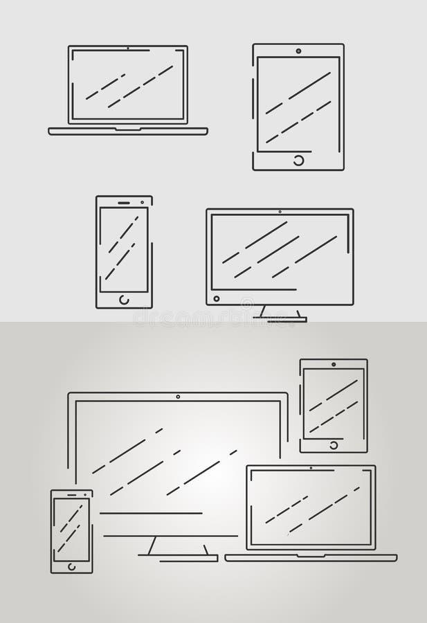 Um grupo de vários tamanhos e formatos de tela, ilustração do vetor