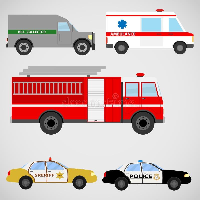 Um grupo de veículos especiais ilustração stock