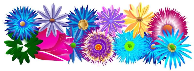 Um grupo decorativo bonito de peça diferente das cores do quadro ou menos ilustração stock
