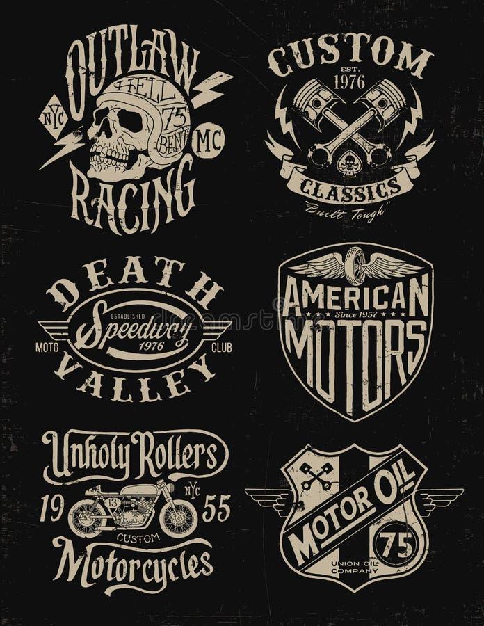 Um grupo do gráfico da motocicleta do vintage da cor ilustração do vetor