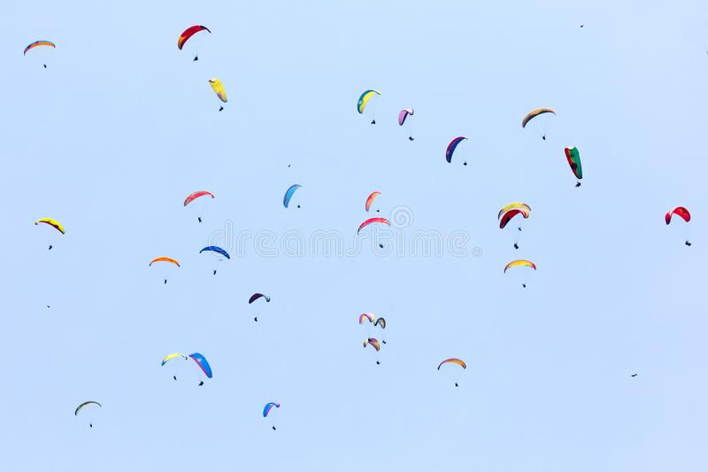 Um grupo do voo do Paraglider contra o céu azul fotos de stock