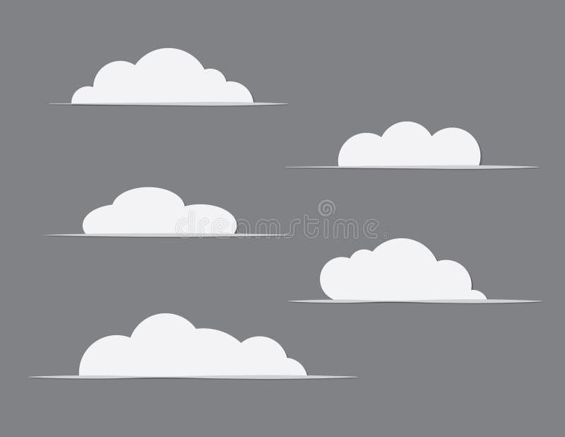 Um grupo dos clipart brancos das nuvens no vetor preto ou cinzento do fundo ilustração stock