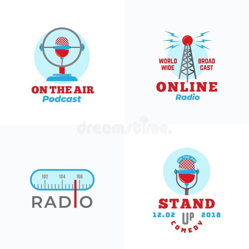 Um grupo dos emblemas de rádio do vetor A torre abstrata da transmissão, Podcast ou levanta-se sinais ou Logo Templates do microf ilustração do vetor