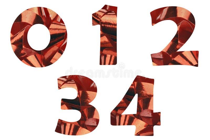 Um grupo dos n?meros 0,1,2,3 e 4 cortado de um close-up de uma fita vermelha do presente imagem de stock