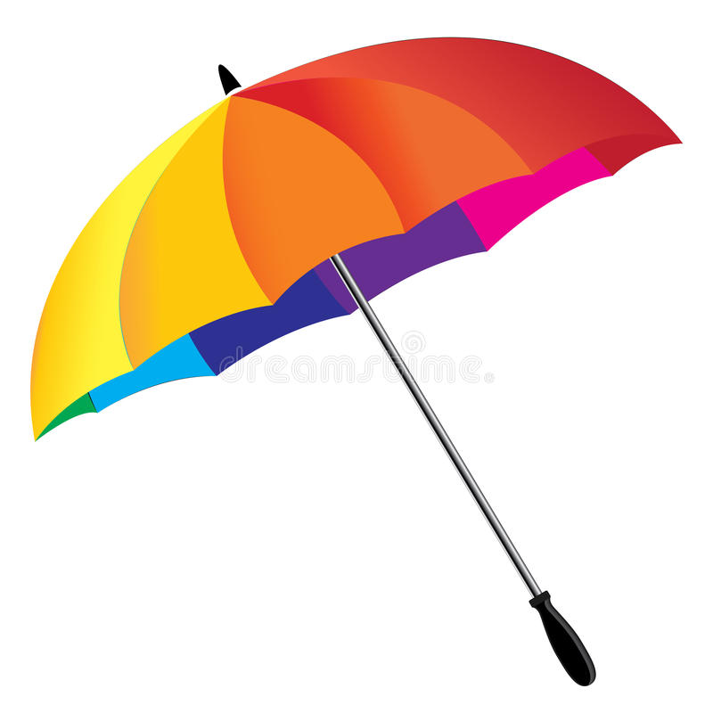 Um guarda-chuva do arco-íris isolado no fundo branco Guarda-chuva do arco-íris ilustração royalty free