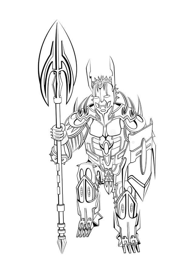 Um guerreiro com uma arma e um protetor Preto do contorno no fundo branco fotografia de stock