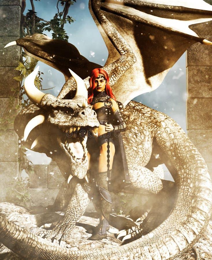 Um guerreiro fêmea com um dragão ilustração do vetor