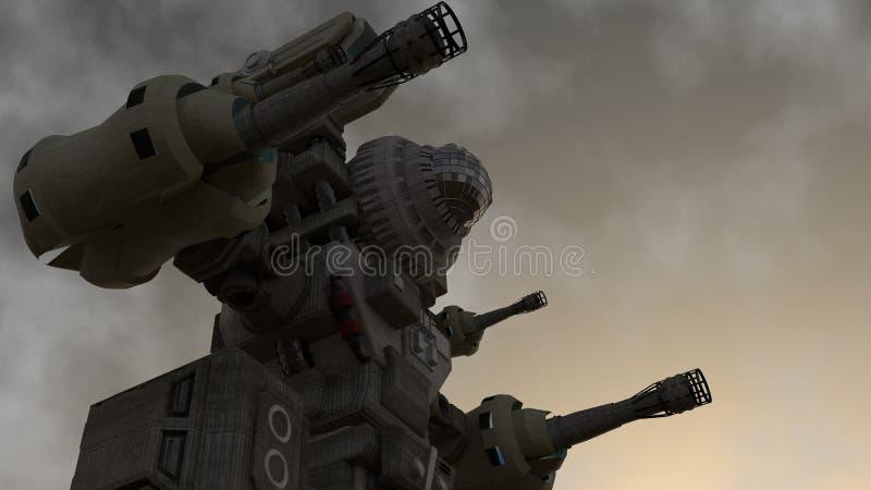 Um guerreiro mecânico que está na terra ilustração do vetor