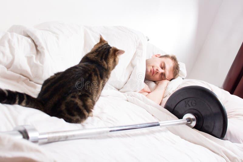 Um halterofilista masculino está adormecido após a formação com um gato e um barbell em um fundo branco fotos de stock