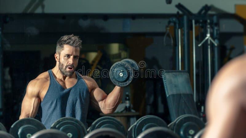 Um halterofilista masculino forte fotografia de stock